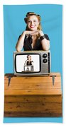 Woman  In Front Of Tv Camera Beach Towel by Jorgo Photography - Wall Art Gallery