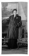 Woman In Fur Coat, C.1940s Beach Towel