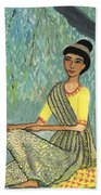 Woman In Grey And Yellow Sari Under Tree Beach Sheet