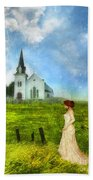 Woman In Lace By A Country Church Beach Towel