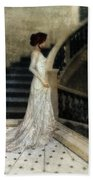 Woman In Lace Gown On Staircase Beach Towel