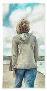 Woman In Rustico Harbor Prince Edward Island Beach Towel