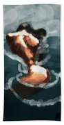 Woman In The Water  Beach Towel