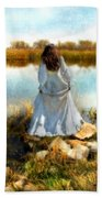 Woman In Victorian Dress By Water Beach Towel