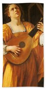 Woman Playing A Lute Beach Towel