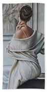 Woman Sat In A Gallery Beach Towel