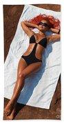 Woman Sunbathing Beach Towel