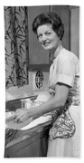 Woman Washing Dishes, C.1960s Beach Towel