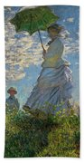 Woman With A Parasol, Madame Monet And Her Son, Claude Monet Digitally Enhanced Beach Towel