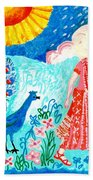 Woman With Apple And Peacock Beach Towel by Sushila Burgess