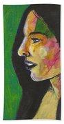 Woman With Black Lipstick Beach Towel