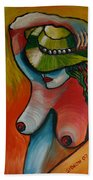 Woman With Hat Beach Towel
