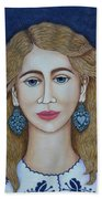 Woman With Silver Earrings Beach Towel