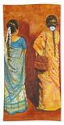 Women In Sarees Beach Sheet