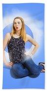 Womens Fashion Pinup Model On Blue Studio Lights Beach Towel