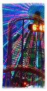 Wonder Wheel At The Coney Island Amusement Park Beach Towel