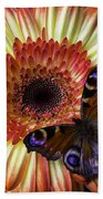 Wonderful Butterfly On Daisy Beach Towel