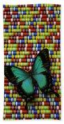 Wonderful Green Butterfly Beach Towel