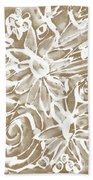 Wood And White Floral- Art By Linda Woods Beach Towel