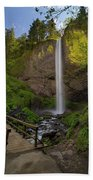 Wood Bridge At Latourell Falls Beach Towel