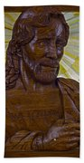 Wood Carving Of Jesus Beach Towel