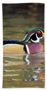Wood Duck In A Pond Beach Towel