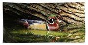 Wood Duck In Wood Beach Towel