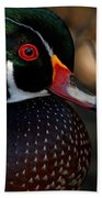 Wood Duck Male Closeup Beach Towel by Sue Harper