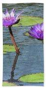 Wood Enhanced Water Lilies Beach Towel