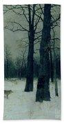 Wood In Winter Beach Towel by Isaak Ilyic Levitan