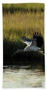 Wood Stork Winged Flight Beach Towel