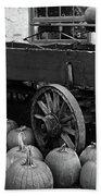Wood Wagon And Pumpkins Black And White Beach Towel