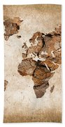 Wood World Map Beach Towel by Delphimages Photo Creations