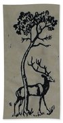 Woodcut Deer Beach Towel