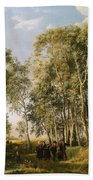 Wooded Landscape With A Group Of Figures In Costume Beach Towel