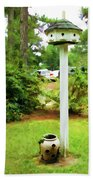 Wooden Bird House On A Pole 6 Beach Towel by Lanjee Chee