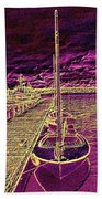 Wooden Boat Moorage Beach Towel