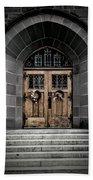 Wooden Church Door In Stone Archway Beach Towel