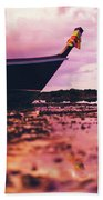 Wooden Fishing Thai Boat Sunken On The Rocky Beach During Tide Beach Towel