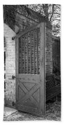 Wooden Garden Door B W Beach Towel