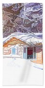 Wooden House In Winter Forest Beach Towel