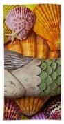 Wooden Mermaid Beach Towel by Garry Gay