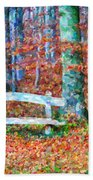 Wooden Park Bench In Dry Leaves  Beach Towel