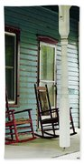 Wooden Rocking Chairs On Porch Beach Towel