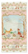 Woodland Fairy Tale - Blush Pink Forest Gathering Of Woodland Animals Beach Towel