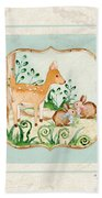 Woodland Fairy Tale - Deer Fawn Baby Bunny Rabbits In Forest Beach Towel