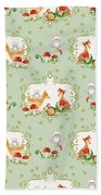 Woodland Fairy Tale - Mint Green Sweet Animals Fox Deer Rabbit Owl - Half Drop Repeat Beach Towel