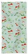 Woodland Fairy Tale - Red Mushrooms N Owls Beach Towel