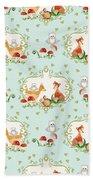 Woodland Fairy Tale - Sweet Animals Fox Deer Rabbit Owl - Half Drop Repeat Beach Towel
