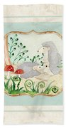 Woodland Fairy Tale - Woodchucks In The Forest W Red Mushrooms Beach Towel